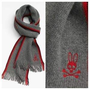 Psycho Bunny side stripes Lambswool scarf red blac